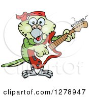 Clipart Of A Happy Green Budgie Parakeet Bird Playing An Electric Guitar Royalty Free Vector Illustration by Dennis Holmes Designs