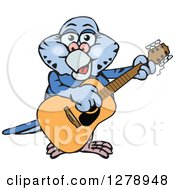 Clipart Of A Happy Dark Blue Budgie Parakeet Bird Playing An Acoustic Guitar Royalty Free Vector Illustration by Dennis Holmes Designs