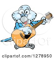 Clipart Of A Happy Blue Budgie Parakeet Bird Playing An Acoustic Guitar Royalty Free Vector Illustration by Dennis Holmes Designs