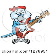 Clipart Of A Happy Blue Budgie Parakeet Bird Playing An Electric Guitar Royalty Free Vector Illustration by Dennis Holmes Designs