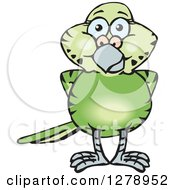 Clipart Of A Happy Green Budgie Parakeet Bird Royalty Free Vector Illustration by Dennis Holmes Designs