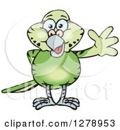 Clipart Of A Happy Green Budgie Parakeet Bird Waving Royalty Free Vector Illustration by Dennis Holmes Designs