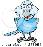Clipart Of A Happy Blue Budgie Parakeet Bird Royalty Free Vector Illustration