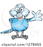 Clipart Of A Happy Blue Budgie Parakeet Bird Waving Royalty Free Vector Illustration by Dennis Holmes Designs