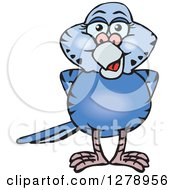 Clipart Of A Happy Dark Blue Budgie Parakeet Bird Royalty Free Vector Illustration by Dennis Holmes Designs