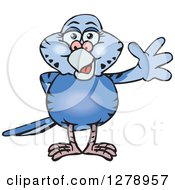 Clipart Of A Happy Dark Blue Budgie Parakeet Bird Waving Royalty Free Vector Illustration by Dennis Holmes Designs
