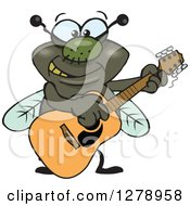 Clipart Of A Happy House Fly Playing An Acoustic Guitar Royalty Free Vector Illustration