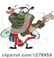 Clipart Of A Happy House Fly Playing An Electric Guitar Royalty Free Vector Illustration