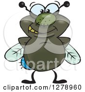 Clipart Of A Happy House Fly Royalty Free Vector Illustration