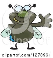Clipart Of A Happy House Fly Waving Royalty Free Vector Illustration