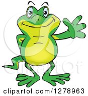Clipart Of A Happy Gecko Waving Royalty Free Vector Illustration by Dennis Holmes Designs