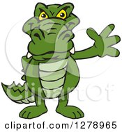 Clipart Of A Happy Alligator Waving Royalty Free Vector Illustration by Dennis Holmes Designs