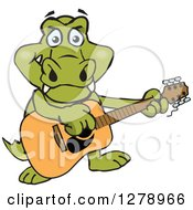 Clipart Of A Happy Crocodile Playing An Acoustic Guitar Royalty Free Vector Illustration