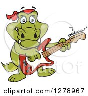 Clipart Of A Happy Crocodile Playing An Electric Guitar Royalty Free Vector Illustration