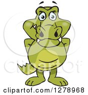 Clipart Of A Happy Crocodile Standing Royalty Free Vector Illustration