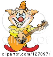 Clipart Of An Evil Clown Playing An Acoustic Guitar Royalty Free Vector Illustration by Dennis Holmes Designs