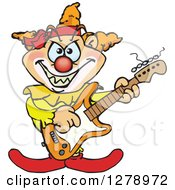 Clipart Of An Evil Clown Playing An Electric Guitar Royalty Free Vector Illustration by Dennis Holmes Designs
