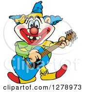 Clipart Of A Happy Clown Playing An Acoustic Guitar Royalty Free Vector Illustration by Dennis Holmes Designs