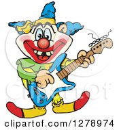 Clipart Of A Happy Clown Playing An Electric Guitar Royalty Free Vector Illustration by Dennis Holmes Designs