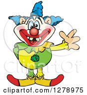 Clipart Of A Happy Clown Standing And Waving Royalty Free Vector Illustration by Dennis Holmes Designs