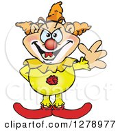 Clipart Of A Creepy Clown Waving Royalty Free Vector Illustration by Dennis Holmes Designs