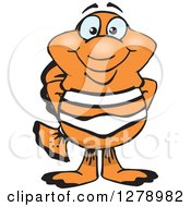 Clipart Of A Happy Clownfish Standing Royalty Free Vector Illustration