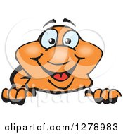 Clipart Of A Happy Clownfish Peeking Over A Sign Royalty Free Vector Illustration
