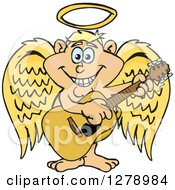 Clipart Of A Happy Angel Musician Playing A Guitar Royalty Free Vector Illustration by Dennis Holmes Designs