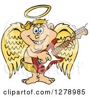 Clipart Of A Happy Angel Musician Playing An Electric Guitar Royalty Free Vector Illustration