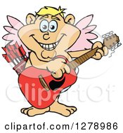 Clipart Of A Happy Cupid Playing An Acoustic Guitar Royalty Free Vector Illustration by Dennis Holmes Designs