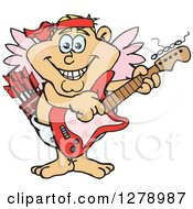 Clipart Of A Happy Cupid Playing An Electric Guitar Royalty Free Vector Illustration by Dennis Holmes Designs