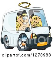 Clipart Of A Blond White Male Cupid Waving And Driving A Delivery Van Royalty Free Vector Illustration by Dennis Holmes Designs