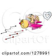 Happy Blond White Male Cupid Flying An Airplane And Shooting Arrows