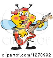 Clipart Of A Happy Bee Playing An Electric Guitar Royalty Free Vector Illustration