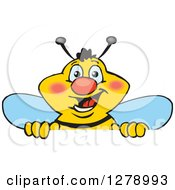 Clipart Of A Happy Bee Peeking And Smiling Over A Sign Royalty Free Vector Illustration