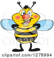 Clipart Of A Happy Bee Standing Royalty Free Vector Illustration by Dennis Holmes Designs