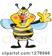 Clipart Of A Friendly Waving Bee Royalty Free Vector Illustration by Dennis Holmes Designs