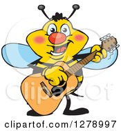 Clipart Of A Happy Bee Playing An Acoustic Guitar Royalty Free Vector Illustration