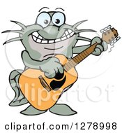 Clipart Of A Happy Black Catfish Playing An Acoustic Guitar Royalty Free Vector Illustration by Dennis Holmes Designs