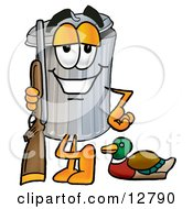 Clipart Picture Of A Garbage Can Mascot Cartoon Character Duck Hunting Standing With A Rifle And Duck by Toons4Biz