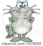 Clipart Of A Happy Catfish Standing Royalty Free Vector Illustration by Dennis Holmes Designs