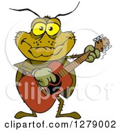 Clipart Of A Happy Cockroach Playing An Acoustic Guitar Royalty Free Vector Illustration by Dennis Holmes Designs