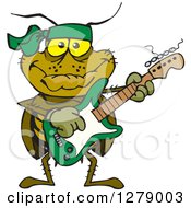 Clipart Of A Happy Cockroach Playing An Electric Guitar Royalty Free Vector Illustration by Dennis Holmes Designs