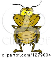 Clipart Of A Happy Cockroach Standing Royalty Free Vector Illustration by Dennis Holmes Designs
