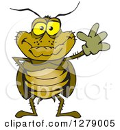 Clipart Of A Friendly Waving Cockroach Royalty Free Vector Illustration