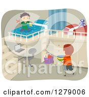 Clipart Of Boys Playing In A Bedroom With A Desk And Loft Beds Royalty Free Vector Illustration