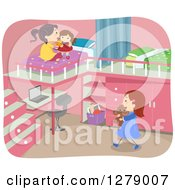Clipart Of Sisters Playing In A Bedroom With A Desk And Loft Beds Royalty Free Vector Illustration