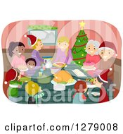 Clipart Of Happy Families Coming Together To Celebrate A Christmas Feast Royalty Free Vector Illustration