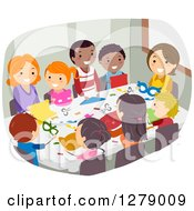 Clipart Of Happy Children And Parents Or Teachers Doing Paper Crafts Royalty Free Vector Illustration