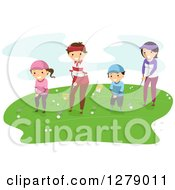 Clipart Of A Happy Asian Family Golfing Together Royalty Free Vector Illustration